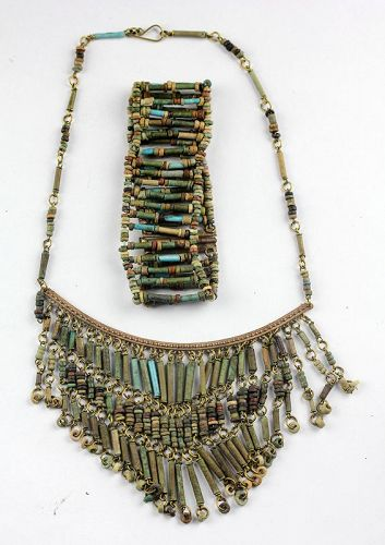 Fine collection of costum mounted ancient Egyptian mummy beads!