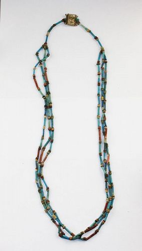 High quality Egyptian Faiance bead necklace, 2nd.-1st. mill. BC