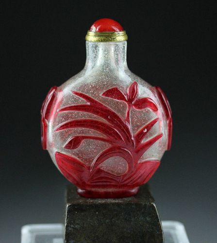 High quality Chinese Red-Overlay glass Snuff Bottle, 18th century!