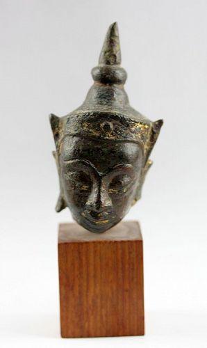 Lovely Ayutthaya bronze Buddha head w. original gilt, 15th.cent. AD