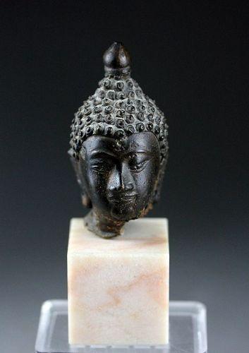 Superb Thai bronze head of Buddha 15th./16th. century AD