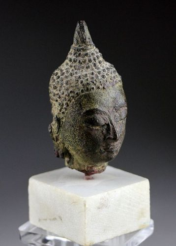 Nice early style bronze head of Buddha, Thailand, 14th.-15th. cent.
