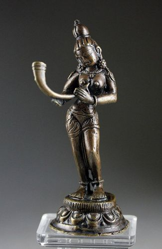 Wonderful Nepali Hindu bronze of godess w horn, ca. 18th.-19th. cent.
