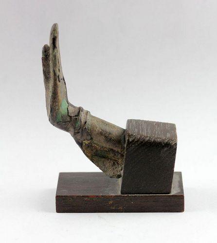 14th.-15th. century mounted gilt Sukhothai bronze hand of Buddha
