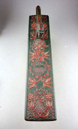 Romantic style 19th. century Danish carved wooden Mangleboard 1843