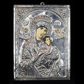 Russian Icon of Mary and Baby Jesus - Marked 800, 1900 -1950