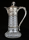 Antique Victorian Posen Silver and Crystal Wine Decanter - God of Wine