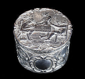 German Antique Sterling Silver Box With High Repoussé 1850-1899