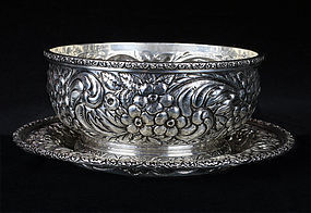 J.E. Caldwell & Co. Sterling Silver Bowl and Under Dish Set - 1890