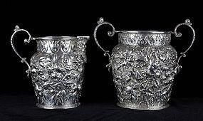 Kirk & Son Creamer and Sugar Bowl Repoussé - Zeus Ammon Head - 1860