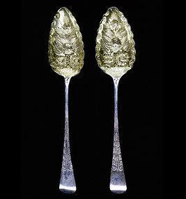 Pair of Kirk & Son Sterling Silver and Gilt Repoussé Berry Spoon
