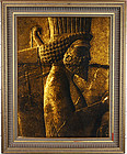 """Persian Achaemenid Soldier Hand knotted Wool Rug 12"""" x 16"""" with Frame"""