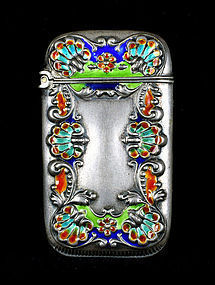 Victorian Enamel Sterling Silver .925 Match Safe - Circa 1850