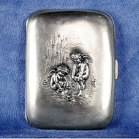 Unger Brothers Sterling Silver 925 Cigarette Case With Gilt Interior