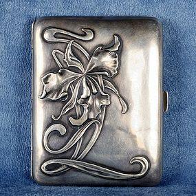 Portuguese Silver Art Deco Cigarette Case Marked Javali II