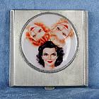 1946 HM Silver Enamel Ladies Compact  Box - Vargas Girls
