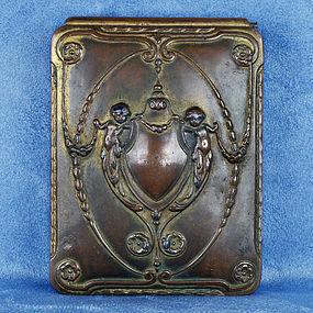 Antique Victorian Art Nouveau Brass Cigarette Box 1895-1900