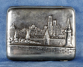 Antique Russian Silver Cigarette Case Moscow - Early 1900