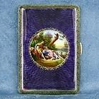 Guilloche Pictorial Enamel Cigarette Box Signed Joseph Tschiedel