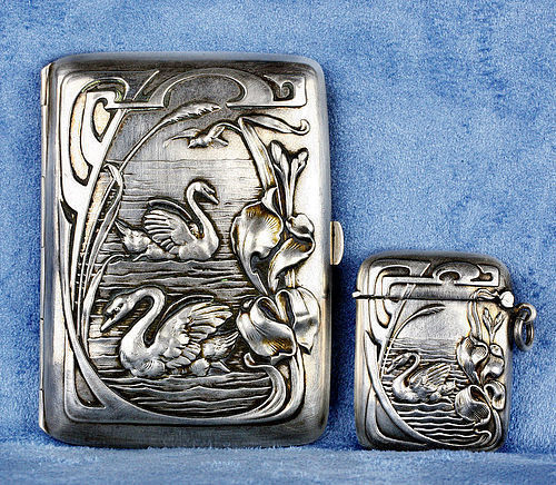 1890 German Art Nouveau Swan Silver 800 Cigarette Case & Match Safe