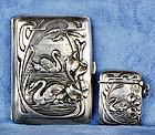 1890 German Art Nouveau Swan Silver 800 Cigarette Case & Match Safe
