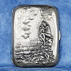 Unger Brothers Silver 925 Cigarette Case with Nude Woman on the Sea