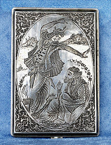 Persian Silver Cigarette Case & Miniature Hand Chased Motives Isfahan