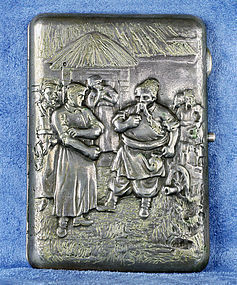 Russian Repoussé Silver Cigarette Case 194 Grams Gilt Interior C. 1890