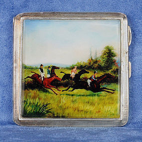 1902 Pictorial Enameled Silver Cigarette Case with Equestrian Scene