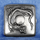 Late 19th Century Chinese Export Silver Cigarette Case Dragon