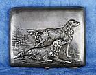 Russian Silver Cigarette Case - Golden Retriever Dogs - Old Patina