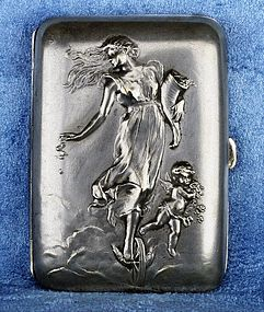 Antique French Art Nouveau Dropsy Girl Silver Plated Cigarette Box