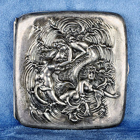 Engraved Sterling Silver Cigarette Case with Mermaids Motif HM .925