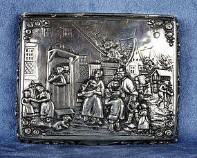 Vintage German Repoussé Stamped 800 Silver Cigarette Box