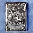 English Art Nouveau Horton & Allday Repoussé Cigarette and Vesta Case