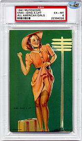 "1941 Mutoscope ""KNEE - DING A LIFT"" - ALL AMERICAN GIRLS - PSA  EX - M"