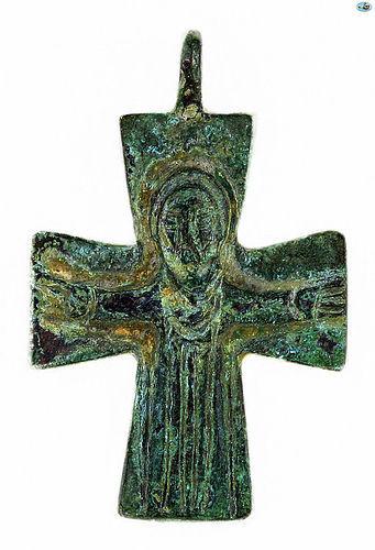 Byzantine Bronze Uniface Cross - Circa 10th - 12th Century AD