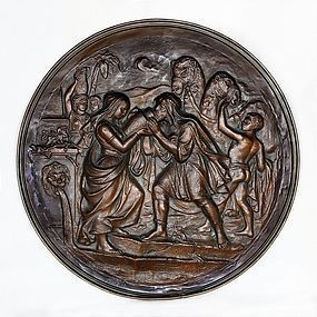 Antique Large Bronze Belgium Wall Hanging Plaque-19th Century-1420 gr.