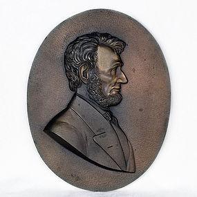 Abraham Lincoln, Centennial Bronze Plaque Oval-High Relief-1602 Grams