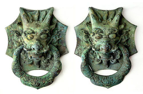 Antique Pair of Chinese Dragon Doorknobs - Bronze - 16th Century AD