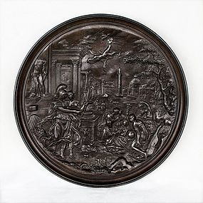 Antique Bronze Cast Plate-Triumph of Virtue-Greek Mythology-18th C.