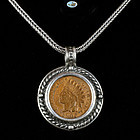 US Indian Head Penny 1906 Set Custom Made Pendant, Frame with Chain