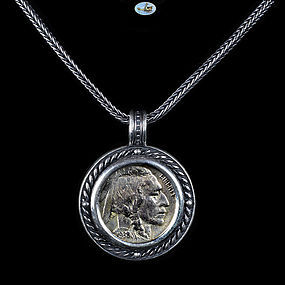 Indian Buffalo Nickel 1938 Custom Made Silver Pendant, Frame, Chain