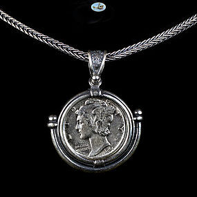 US Mercury Dime 1944 Set on Custom Made Silver Pendant, Frame, Chain