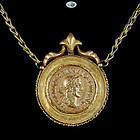 Roman Imperial Trajan Decius Gold Coin Custom Made Necklace, Chain