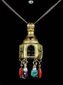 Byzantine Gold Pendant with Multicolor Stones-C. 10th-12th Century