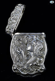 European Silver Match Safe .830 Lady Smoking - Late 19th Century