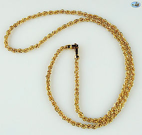 "Lovely Twist Link Gold Chain Necklace 18K Gold - 27.70 Grams, 23"" Long"
