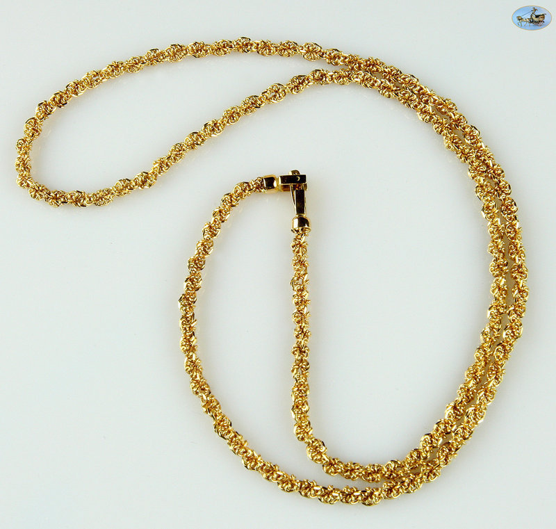 """Lovely Twist Link Gold Chain Necklace 18K Gold - 27.70 Grams, 23"""" Long"""