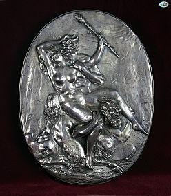 A Henryk Winograd .925 Silver Repoussé Oval Plaque, Erotic Scene